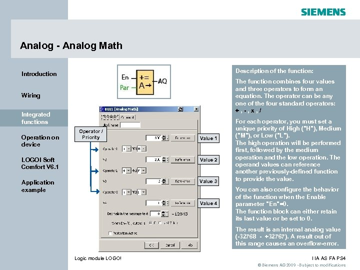 Analog - Analog Math Introduction Description of the function: Wiring The function combines four