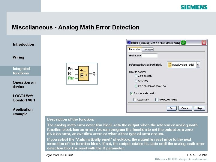 Miscellaneous - Analog Math Error Detection Introduction Wiring Integrated functions Operation on device LOGO!