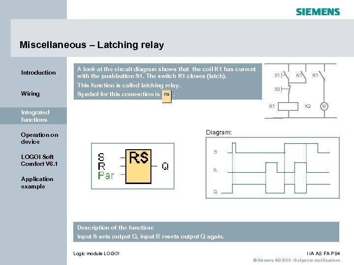 Miscellaneous – Latching relay Introduction A look at the circuit diagram shows that the