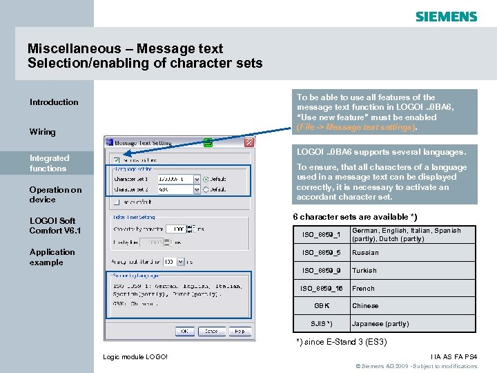 Miscellaneous – Message text Selection/enabling of character sets To be able to use all