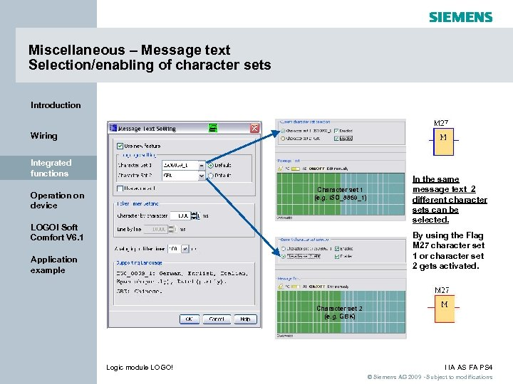 Miscellaneous – Message text Selection/enabling of character sets Introduction Wiring Integrated functions Character set