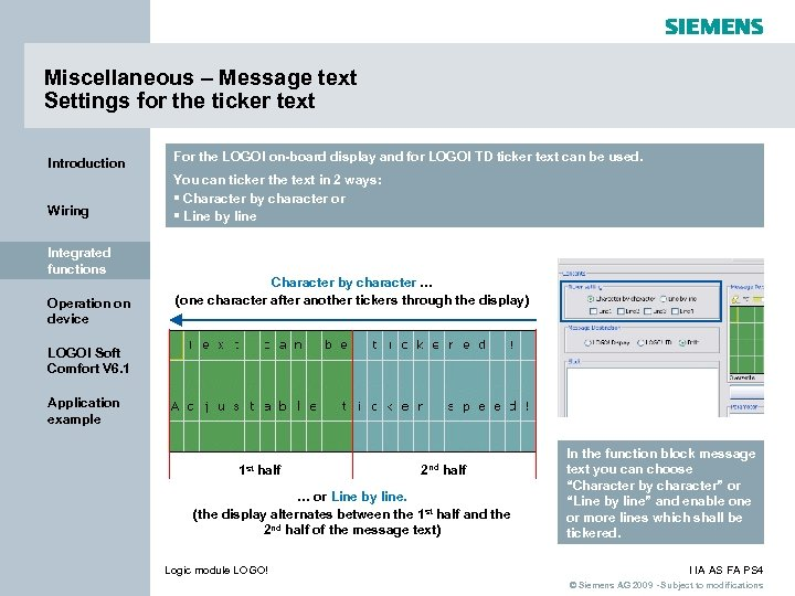 Miscellaneous – Message text Settings for the ticker text Introduction For the LOGO! on-board