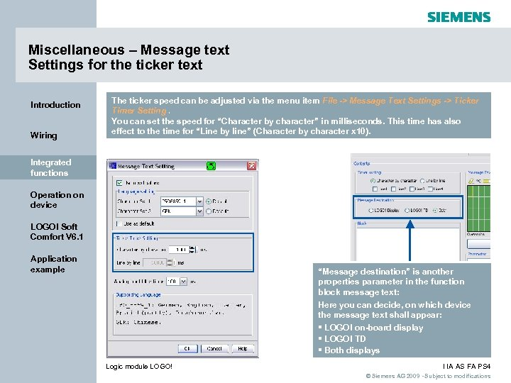 Miscellaneous – Message text Settings for the ticker text Introduction Wiring The ticker speed