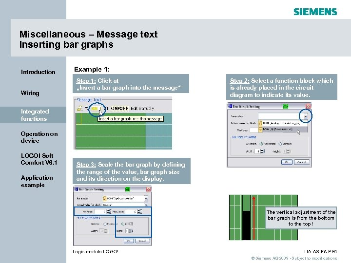 Miscellaneous – Message text Inserting bar graphs Introduction Wiring Example 1: Step 1: Click