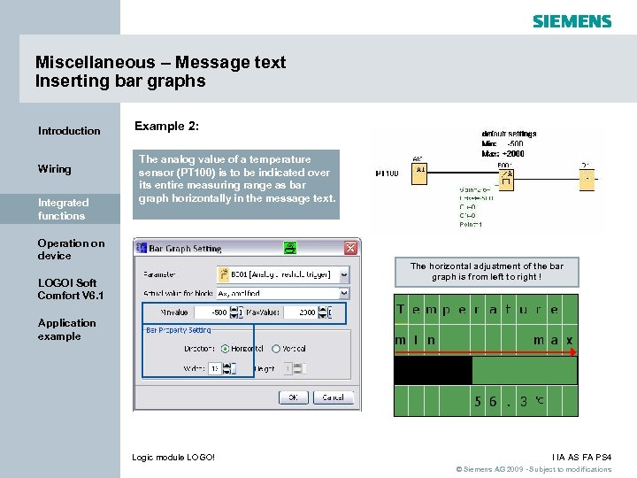 Miscellaneous – Message text Inserting bar graphs Introduction Wiring Integrated functions Example 2: The