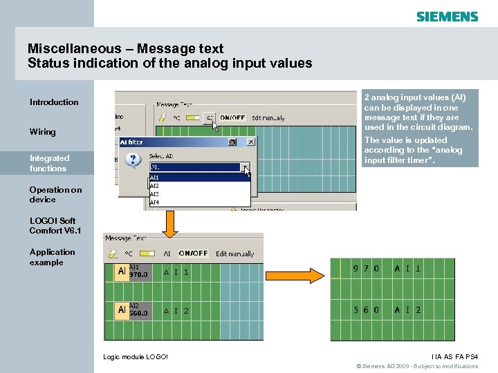 Miscellaneous – Message text Status indication of the analog input values 2 analog input