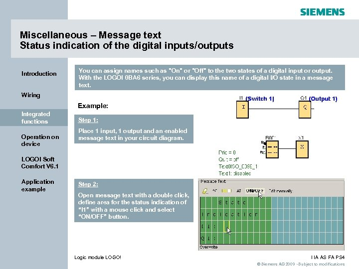 Miscellaneous – Message text Status indication of the digital inputs/outputs Introduction You can assign