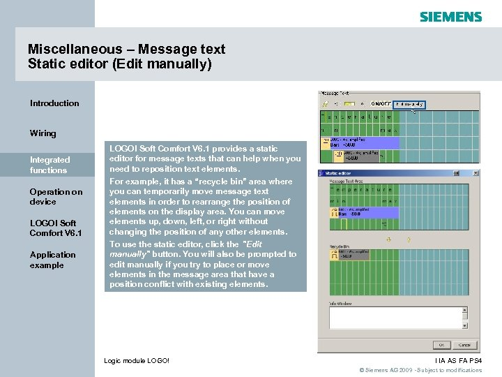 Miscellaneous – Message text Static editor (Edit manually) Introduction Wiring Integrated functions Operation on