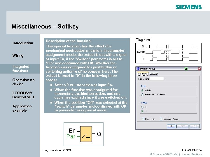 Miscellaneous – Softkey Introduction Wiring Integrated functions Operation on device LOGO! Soft Comfort V