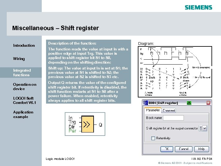 Miscellaneous – Shift register Introduction Wiring Integrated functions Operation on device LOGO! Soft Comfort