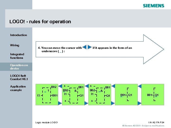 LOGO! - rules for operation Introduction Wiring Integrated functions 4. You can move the