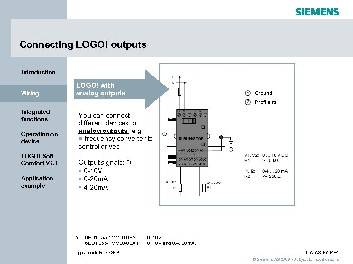 Connecting LOGO! outputs Introduction Wiring LOGO! with analog outputs Ground Profile rail Integrated functions