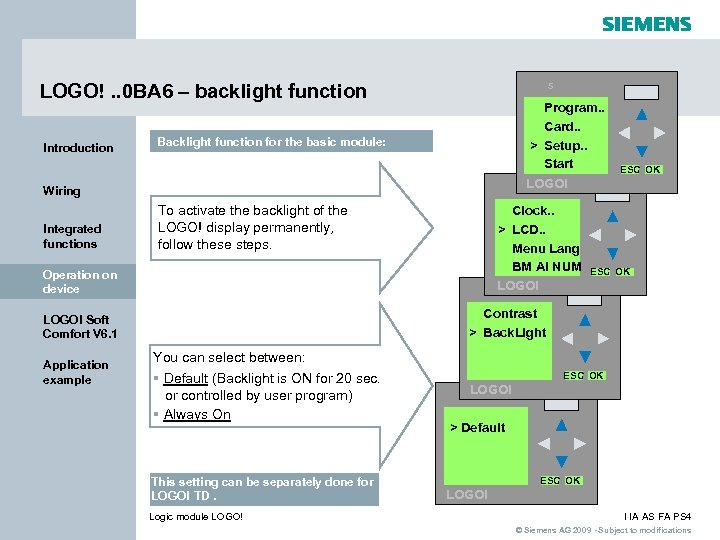 s LOGO!. . 0 BA 6 – backlight function Introduction Program. . Card. .