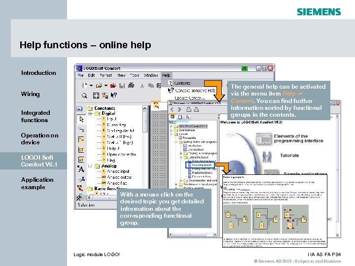 Help functions – online help Introduction The general help can be activated via the