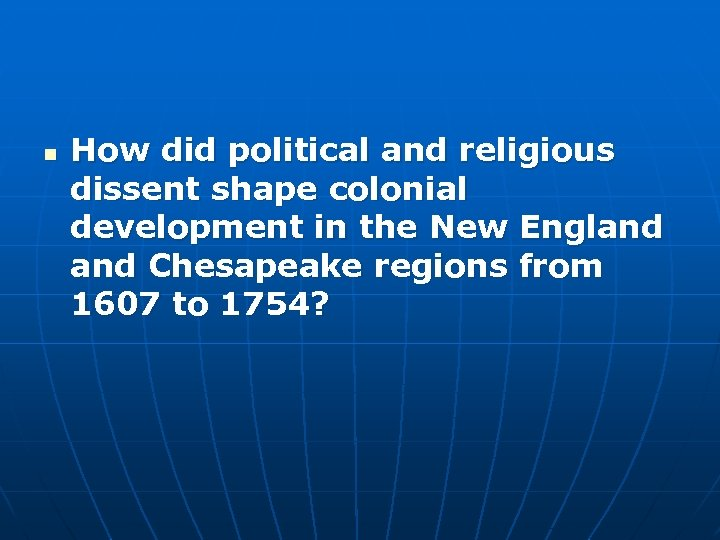 although new england and the chesapeake region were both settled largely by people of english origin Ap 1993 although new england and the chesapeake region were both settled largely by people of english origin, dbq by 1700 the regions had evolved into two distinct societies why did this difference in development occur.