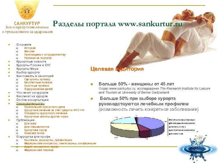 Разделы портала www. sankurtur. ru n О проекте q q n n n Курортные