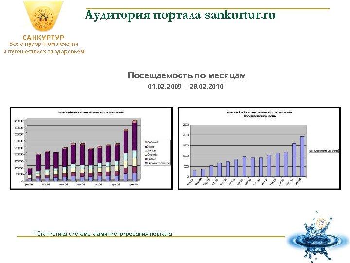 Аудитория портала sankurtur. ru Посещаемость по месяцам 01. 02. 2009 – 28. 02. 2010
