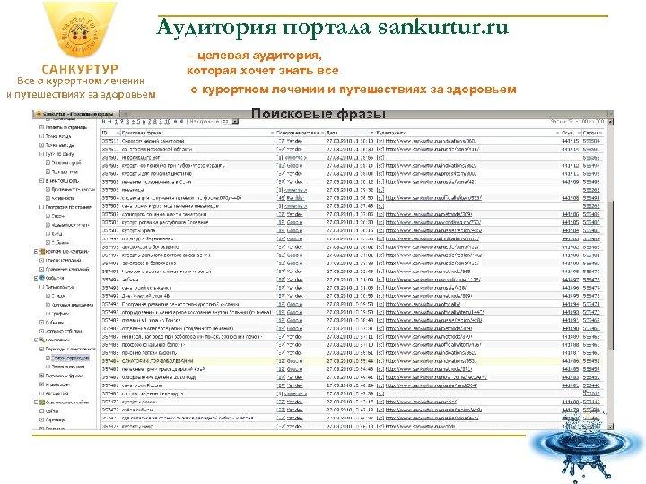 Аудитория портала sankurtur. ru – целевая аудитория, которая хочет знать все о курортном лечении