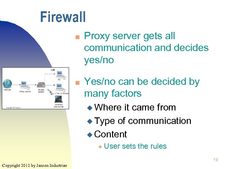 Firewall n n Proxy server gets all communication and decides yes/no Yes/no can be