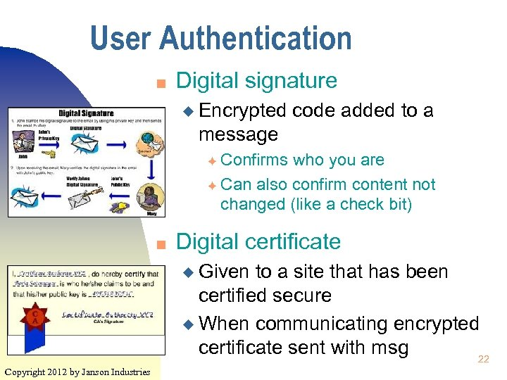 User Authentication n Digital signature u Encrypted code added to a message Confirms who