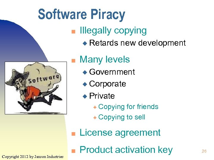Software Piracy n Illegally copying u Retards n new development Many levels u Government