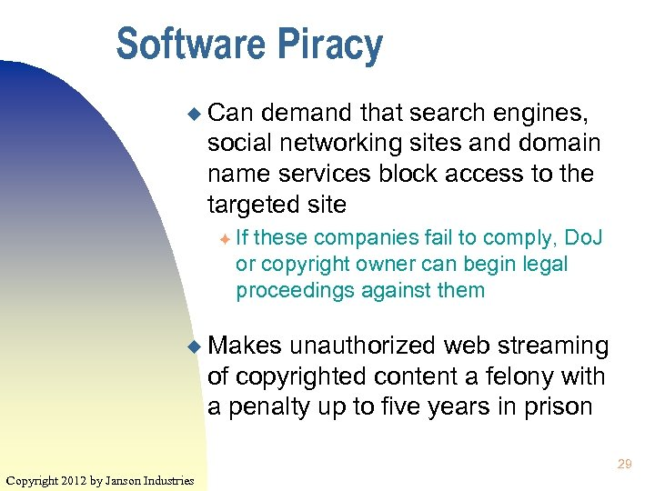 Software Piracy u Can demand that search engines, social networking sites and domain name