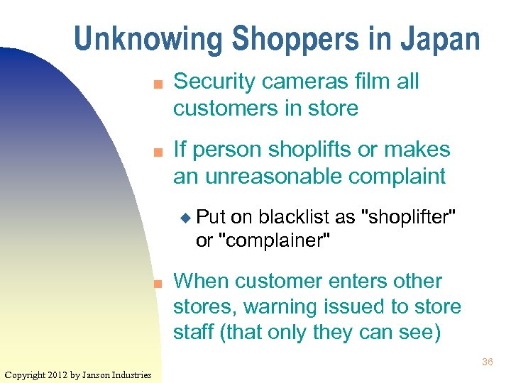 Unknowing Shoppers in Japan n n Security cameras film all customers in store If