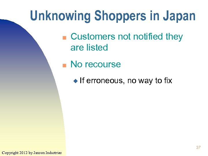 Unknowing Shoppers in Japan n n Customers notified they are listed No recourse u