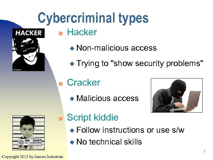 Cybercriminal types n Hacker u Non-malicious u Trying n to