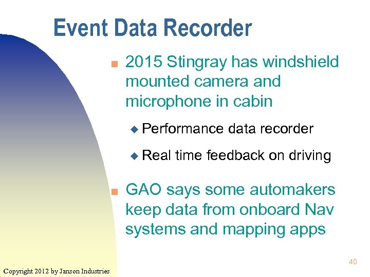 Event Data Recorder n 2015 Stingray has windshield mounted camera and microphone in cabin