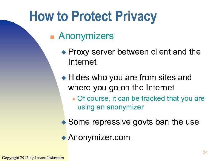 How to Protect Privacy n Anonymizers u Proxy server between client and the Internet