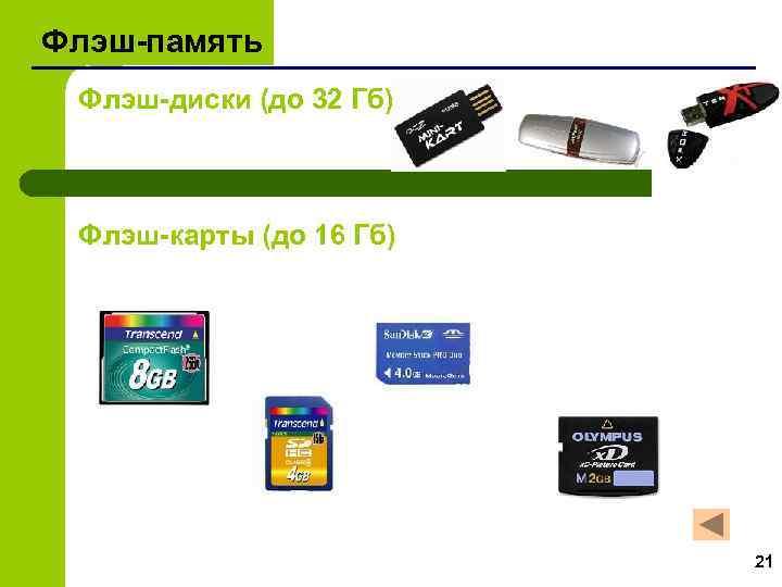 Флэш-память Флэш-диски (до 32 Гб) Флэш-карты (до 16 Гб) 21