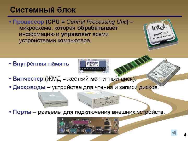 Системный блок • Процессор (CPU = Central Processing Unit) – микросхема, которая обрабатывает информацию