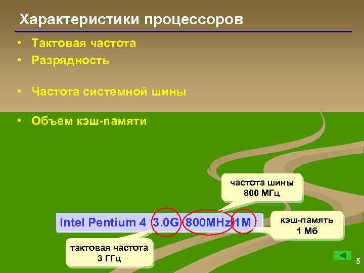Характеристики процессоров • Тактовая частота • Разрядность • Частота системной шины • Объем кэш-памяти