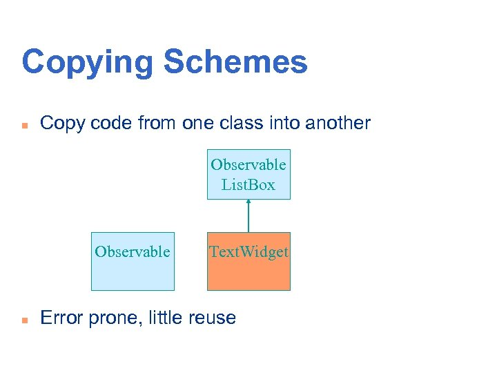Copying Schemes n Copy code from one class into another Observable List. Box Observable