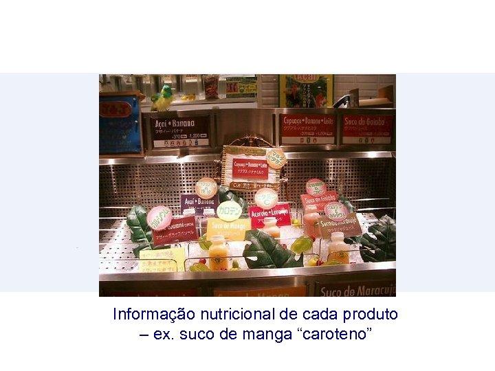 """Informação nutricional de cada produto – ex. suco de manga """"caroteno"""""""