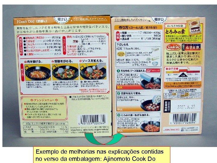 Exemplo de melhorias nas explicações contidas no verso da embalagem: Ajinomoto Cook Do