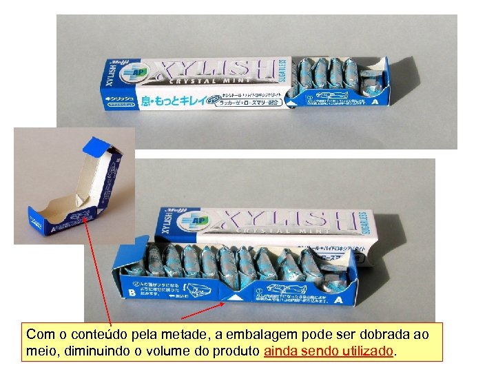 半分食べると 2つ Com o conteúdo pela metade, a embalagem pode ser dobrada ao に折り曲げられる