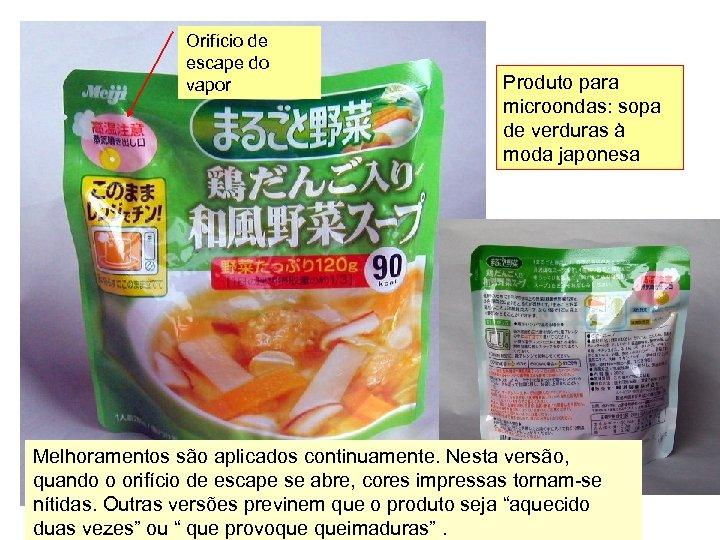 Orifício de escape do vapor Produto para microondas: sopa de verduras à moda japonesa
