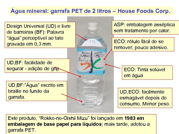 Água mineral: garrafa PET de 2 litros – House Foods Corp. Design Universal (UD)