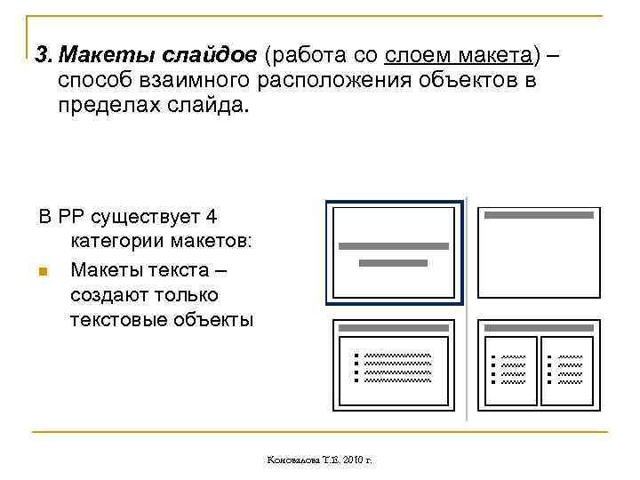 3. Макеты слайдов (работа со слоем макета) – способ взаимного расположения объектов в пределах