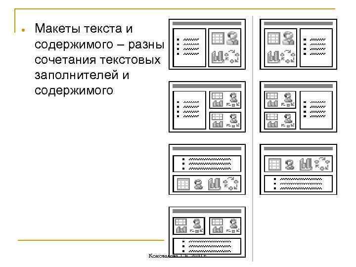 Макеты текста и содержимого – разные сочетания текстовых заполнителей и содержимого Коновалова Т.