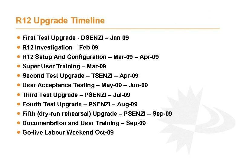 R 12 Upgrade Timeline · First Test Upgrade - DSENZI – Jan 09 ·