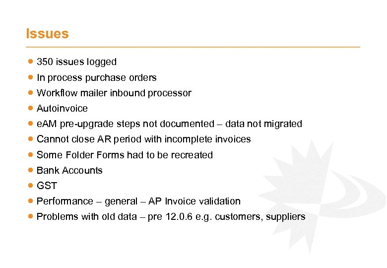 Issues · 350 issues logged · In process purchase orders · Workflow mailer inbound