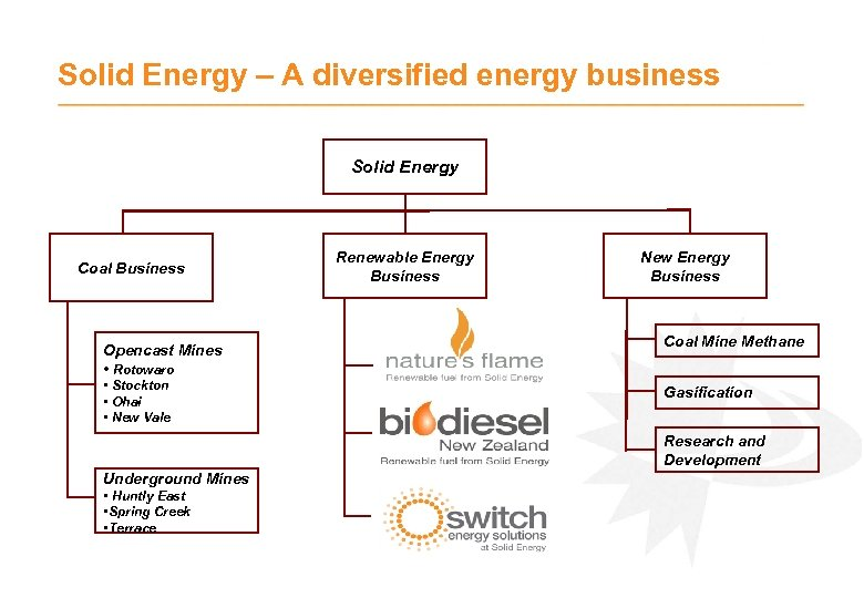 Solid Energy – A diversified energy business Solid Energy Coal Business Opencast Mines •