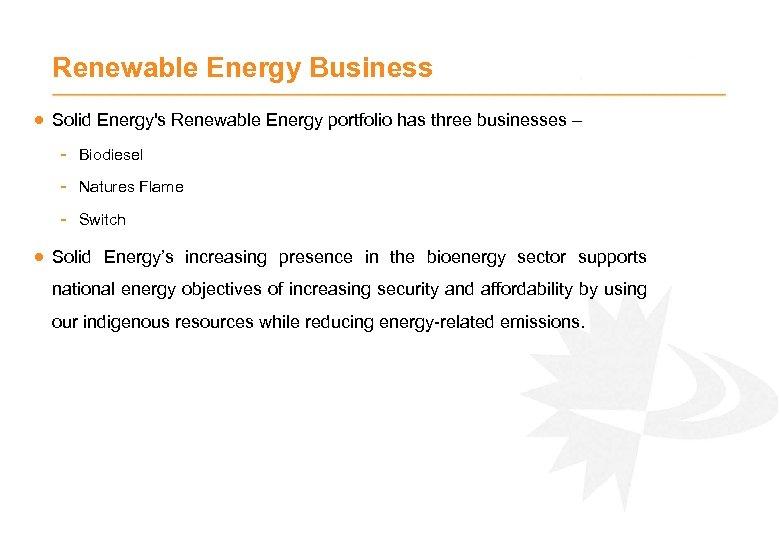 Renewable Energy Business · Solid Energy's Renewable Energy portfolio has three businesses – -