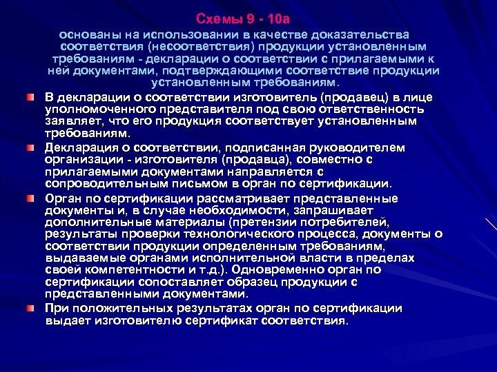 Схемы 9 - 10 а основаны на использовании в качестве доказательства соответствия (несоответствия)