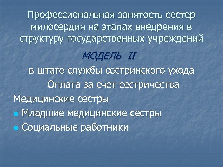 Профессиональная занятость сестер милосердия на этапах внедрения в структуру государственных учреждений МОДЕЛЬ II в