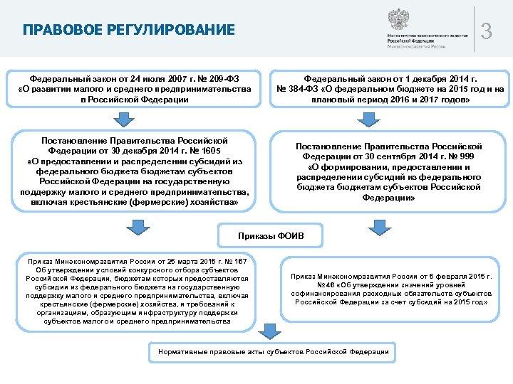 3 ПРАВОВОЕ РЕГУЛИРОВАНИЕ Федеральный закон от 24 июля 2007 г. № 209 -ФЗ «О