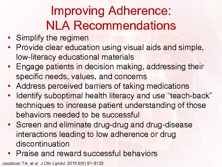 Improving Adherence: NLA Recommendations • Simplify the regimen • Provide clear education using visual